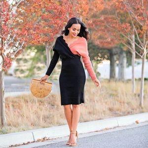 Chicwish Contrast Wave Wrap Knit Sweater Dress